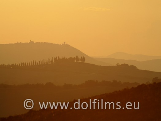 stock foto sunset Tuscany